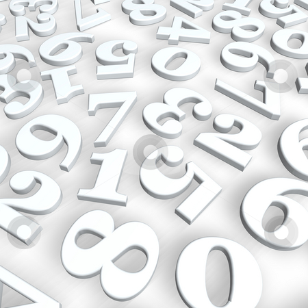 Numbers background stock photo, Disorder of numbers on white background - 3d illustration by J?