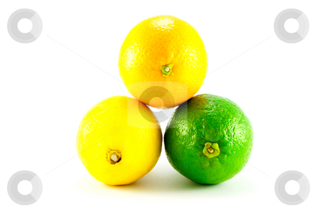 Lemon, Lime and Orange stock photo, Single whole lemon, Lime and Orange on a white background by Keith Wilson