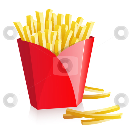 French fries stock vector clipart, French fries in a red box by Laurent Renault