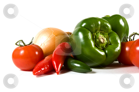 Vegetables on an isolated background stock photo, Close up on a group of Vegetable by Mehmet Dilsiz