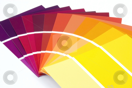 Paint Samples stock photo, Purple to Yellow Paint Samples by Mehmet Dilsiz