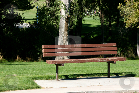 Bench in a Park stock photo, Bench in Sugarhouse Park by Mehmet Dilsiz