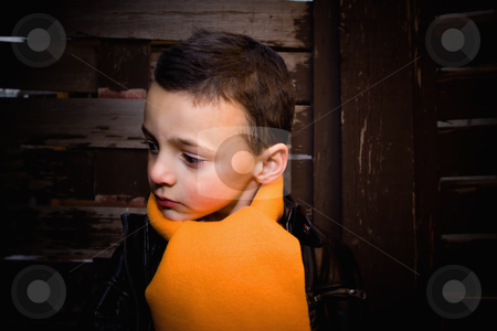 Cute Boy Looking Serious stock photo, Cute Little Boy Thinking by Mehmet Dilsiz
