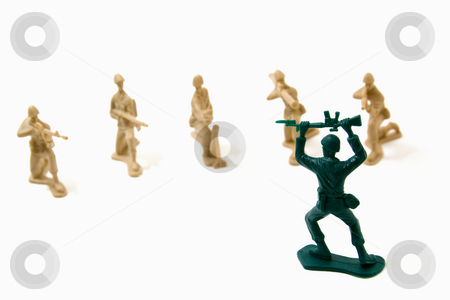 Surrender Concept - Army Men stock photo, Isolated Plastic Toy Soldiers - Surrender by Mehmet Dilsiz