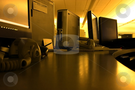 Chrome Control Center stock photo, Chrome Abstract Control Center in an Office by Mehmet Dilsiz