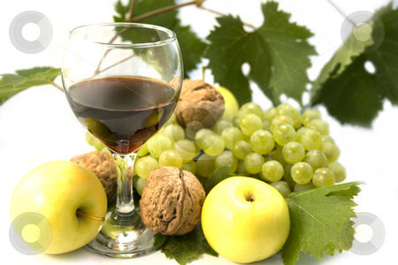 Wine and fruits  stock photo, Wine and fruits on white background by Minka Ruskova-Stefanova