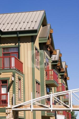 Close up on an Series of Houses stock photo, Buildings in Park City, Utah - Ski Resort by Mehmet Dilsiz