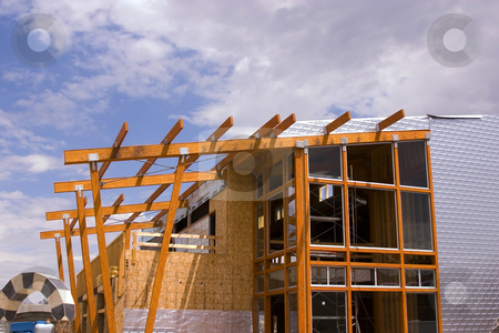 Strip Mall Restaurant Roof Construction Site  stock photo, Wooden Restaurant Patio Roof Construction Site by Mehmet Dilsiz