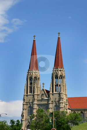 Two Church Towers stock photo, Two Towers of a Church with Clear Blue Skies on the Background by Mehmet Dilsiz