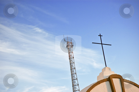 Cross and antenna stock photo, Telecoms antenna near a church cross against the sky by Manuel Ribeiro