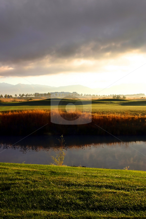 Sunrise over the Golf Course stock photo, Sunrise over the Golf Course in the Valley by Mehmet Dilsiz