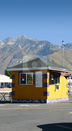 Coffee Shop / Stand by the Mountains stock photo, Coffeeshop Stand with Mountains on hte background by Mehmet Dilsiz