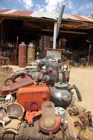 Random Mojave 2 stock photo, Rusty old items fill an old campsite in the Mojave Desert. by Kristine Keller