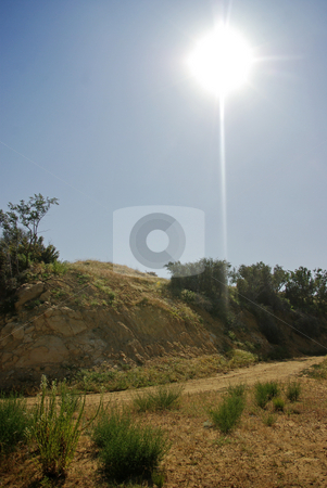 High Noon on the Trail stock photo, The afternoon sun shines above a trail in the Santa Monica Mountains. by Kristine Keller