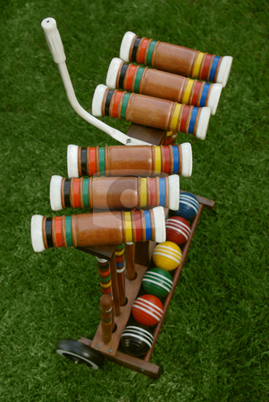 Croquet 2 stock photo, A used croquet set. by Kristine Keller