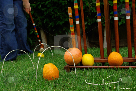 Fruit Croquet 3 stock photo, A fruit-themed game of croquet. by Kristine Keller