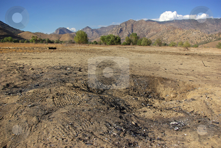 Crash Site stock photo, Burned soil marks the site of a small airplane crash in Kern County, California. by Kristine Keller