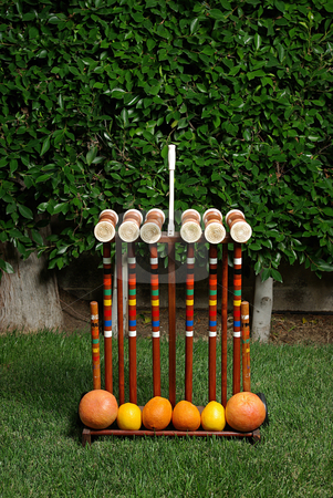 Fruit Croquet 1 stock photo, A fruit-themed game of croquet. by Kristine Keller