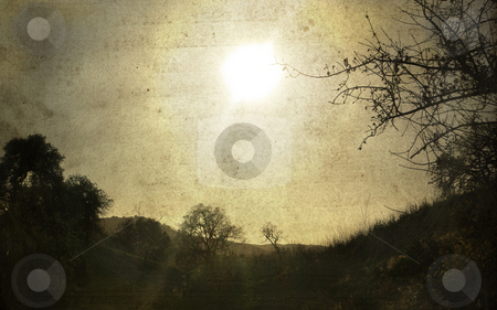 Almost Dusk stock photo, An antique-styled landscape. by Kristine Keller