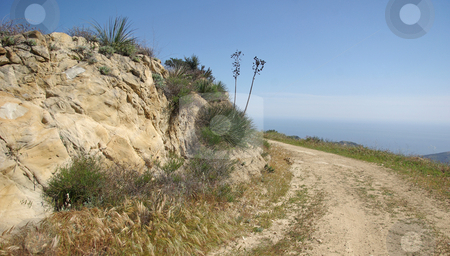 Wide Trail by the Pacific stock photo, A trail in the mountains above Malibu. by Kristine Keller