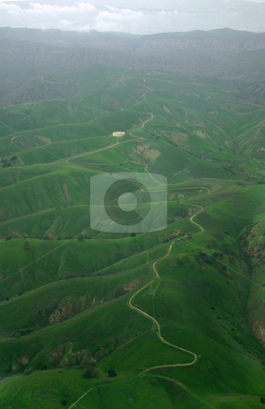 Green Mountains stock photo, An aerial view over Southern California in the late winter. by Kristine Keller