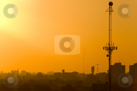 Antenna at Sunset (imgp0912) stock photo, Telecommunications Antenna at sunset by Germán Ariel Berra