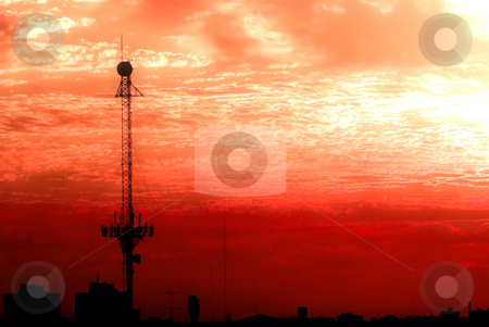 Apocalyptic Telecommunications Antenna stock photo, Telecommunications Antenna against an apocalyptic red sky by Germán Ariel Berra