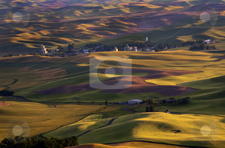 Steptoe Sunset stock photo, Sunset light casts shadows over the Palouse Hills with the town of Steptoe in the distance by Mike Dawson