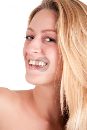 Portrait of beautiful blond girl stock photo, Beautiful blond young woman smiling at you by Frenk and Danielle Kaufmann