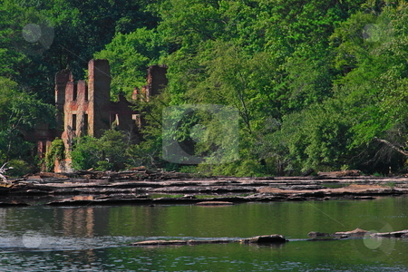 Old  Ruins  stock photo, Old textile mill ruins among nature's landscape by Jack Schiffer