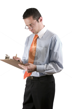 Businessman with clipboard on hand stock photo, Isolated businessman / quality inspector looking over his glasses by Mehmet Dilsiz