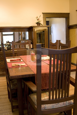 Dining Room stock photo, Dining Room with Dinner Table Ready To Go by Mehmet Dilsiz