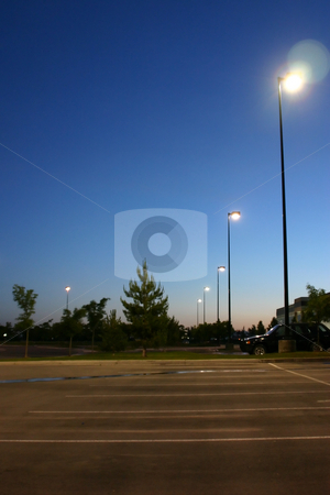Sunrise in a Business Parking Lot stock photo, Sunrise in a Business Parking Lot in Utah by Mehmet Dilsiz