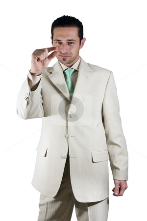 Businessman pointing out little importance stock photo, Isolated Businessman pointing out little importance by Mehmet Dilsiz