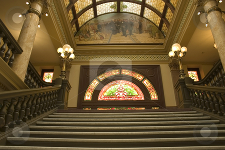 Stairway to Stained Glass in the Capital Building stock photo, Stairways to the Second Floor of the Capital Building in Helena Montana by Mehmet Dilsiz