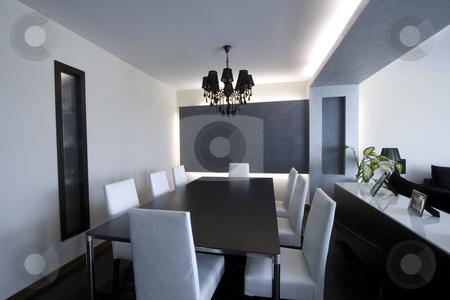 Trendy Modern Dining Room stock photo, Trendy Modern Dining Room and Dinner Table by Mehmet Dilsiz