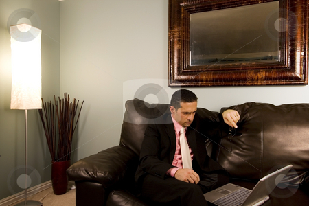 Home or Office - Businessman Working on the Couch stock photo, Home or Office - Businessman Looking at his Computer on the Couth by Mehmet Dilsiz