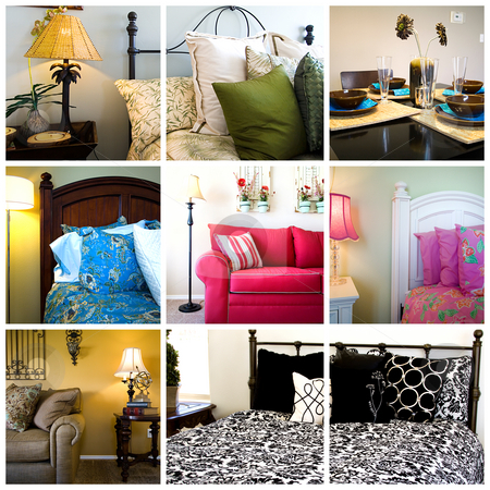 Collage - Home Interior stock photo, Collage of Home Interior - Bedrooms, Living and Dining Rooms by Mehmet Dilsiz