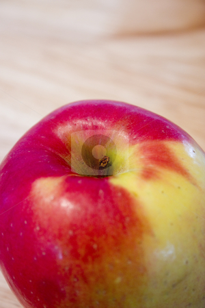 Close up on a Red Apple stock photo, Close up on a Red Apple with a Stem by Mehmet Dilsiz