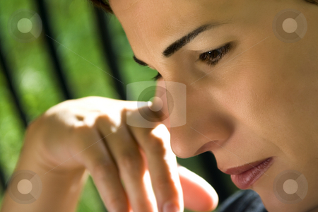 Close up on a Woman Reading a Book stock photo, Close up on a Woman's Face Reading a Book by Mehmet Dilsiz