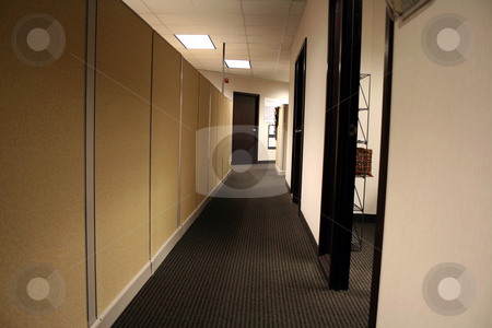 Office Hallway stock photo, Hallway of an Office with Cubicle Walls and Open Doors by Mehmet Dilsiz