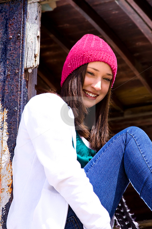 Beautiful Teenager with a Hat stock photo, Close up on a Beautiful Teenager by Mehmet Dilsiz