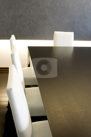 Trendy Modern Dining Room stock photo, Close up on a Trendy Modern Dining Room and Dinner Table by Mehmet Dilsiz