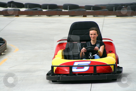 Teenager on the Go Cart stock photo, Teenager racing on the Go Cart by Mehmet Dilsiz