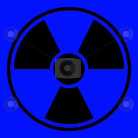 Radiation Warning Sign stock photo, Round radiation warning sign on blue background by Henrik Lehnerer