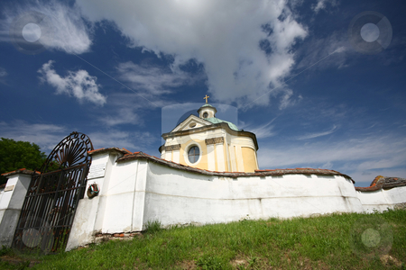 Old chapel stock photo, Old chapel with beautiful sky by Istv??n Cs??k