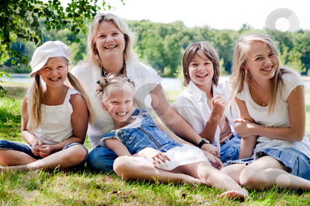 The jeansfamily with mother stock photo, Portrait with al the children of the family by Frenk and Danielle Kaufmann