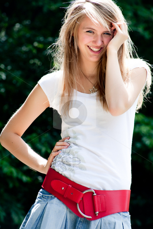 Fashion girl feelings stock photo, Teenage girl in fresh and happy mood outside in the park by Frenk and Danielle Kaufmann