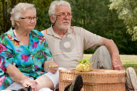 Senior couple sitting in the park stock photo, Elderly couple enjoying the spring in the park by Frenk and Danielle Kaufmann