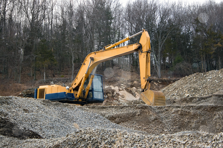 Construction Heavy Machinery stock photo, View of a construction site with heavy duty equipment. by Todd Arena